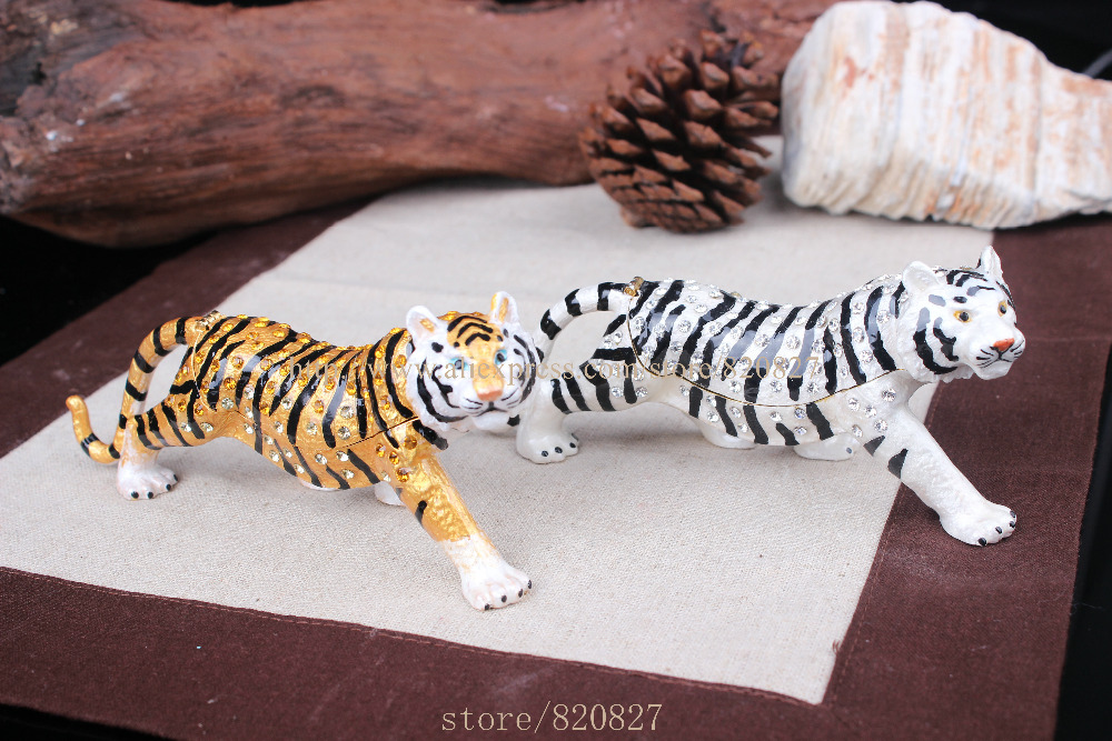 Tiger Bejeweled Trinket Jewelry Box Hinged Tiger Trinket Box Metal Animal Tiger Jjewelry Showcase Display Tiger
