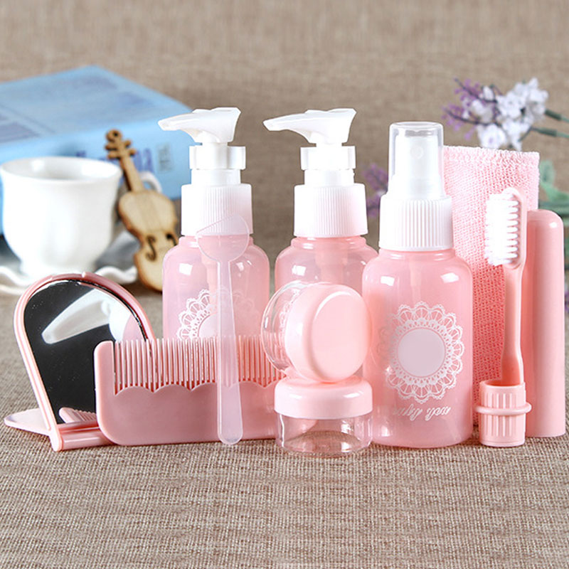 10pcs Empty Portable MakeUp Spray Bottle Lotion Shampoo Cream Container Travel Refillable Bottles Set Kits With Pouch