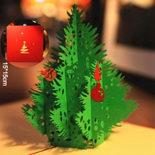 red 3d merry christmas tree 3d laser cut pop up paper bulk handmade postcards custom xmas - Cheap Christmas Cards In Bulk