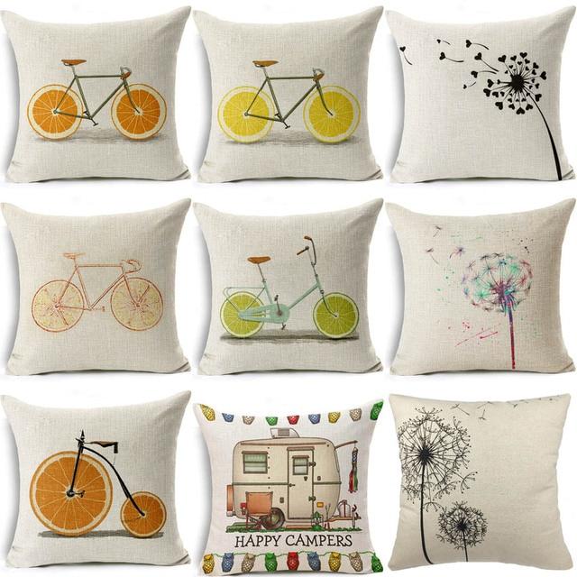 Plain Linen Cushion Covers For Sofa Decorative Pillow Cases Travel