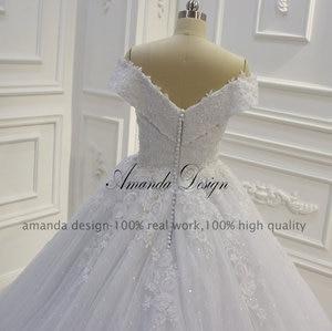 Image 5 - אמנדה עיצוב vestido casamento כבוי כתף תחרת Applique שמלת חתונה נוצצת