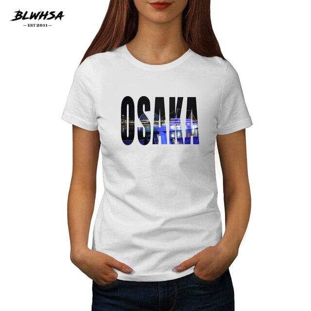 BLWHSA Camiseta con estampado de la letra de la ciudad japonesa de las mujeres de la impresión de la letra de la camiseta de verano divertida ropa de la señora