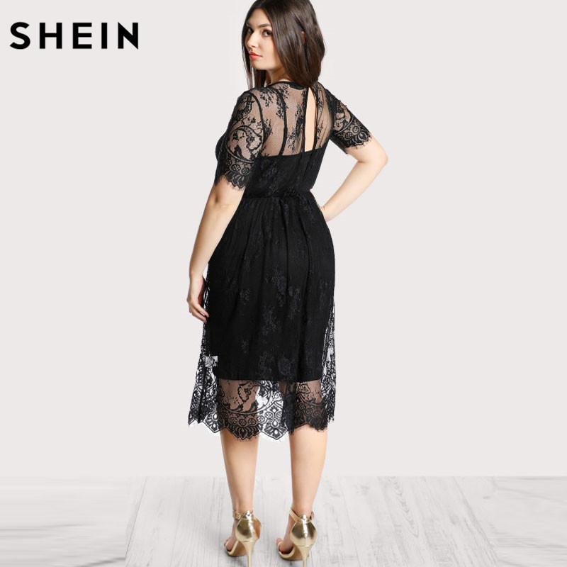 0c91929389 SHEIN Black Plus Size Lace Dress Women High Waist Floral Lace Dress Scoop  Neck Buttoned Large Size Summer Dress -in Dresses from Women's Clothing on  ...