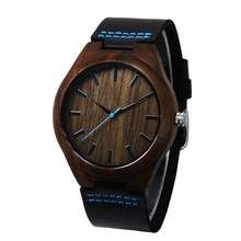 Luxury Wooden Clock For Mens Gifts Japen MIYOTA Movement Quartz Wristwatch With Black Cowhide Leather Idea Box