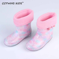 CCTWINS KIDS 2017 Summer Children PVC Baby Girl Warm Shoe Kid Brand Waterproof Pink Rain Boot