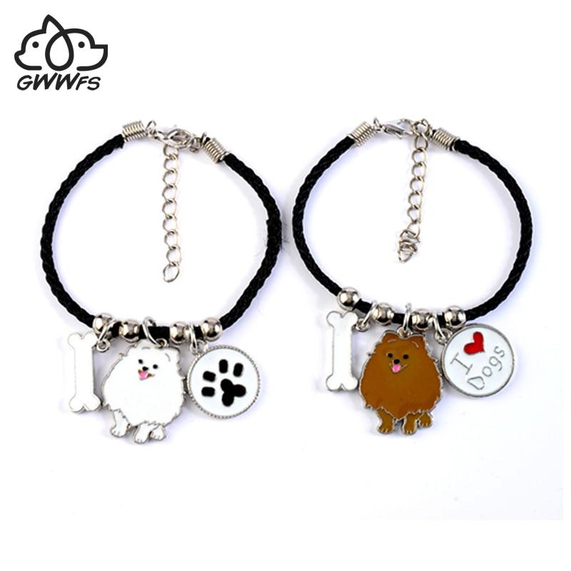 Mignon breloques poméranienne de charme amp bracelets pour filles femmes hommes corde chaîne argent couleur chien chien pendentif mâle bracelet femme