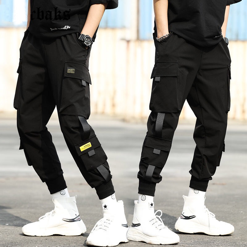 Harem-Pants Trousers Elastic-Waist Streetwear Hip-Hop Slim Black Casual with Ribbons title=