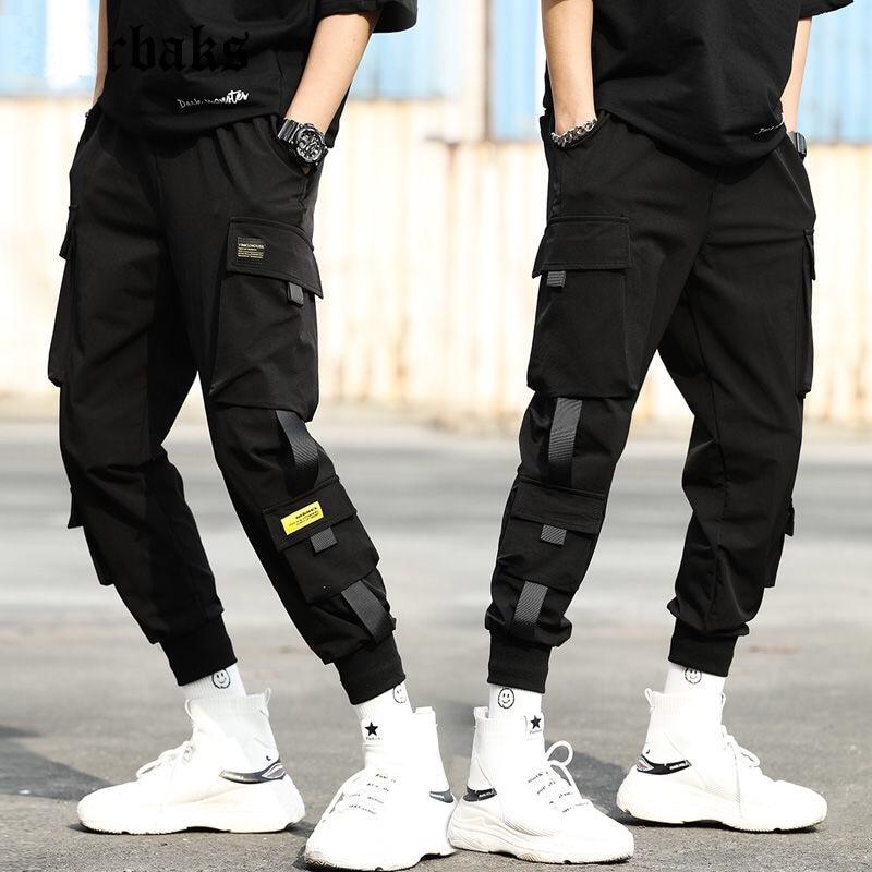 Streetwear Black Harem Pants Men Elastic Waist Punk Pants With Ribbons Casual Slim Jogger Pants Men Hip Hop Trousers(China)