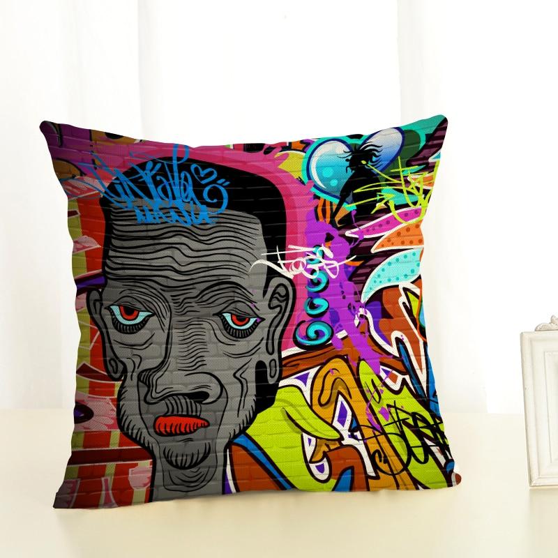 RECOLOUR  Hot sale Art graffiti Cushion Cover throw pillows Home Decor pillow cover Sofa cojines decorativos para sofa