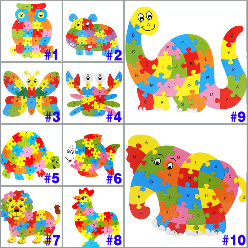 26 Patterns Wooden Animal Alphabet Early Learning Puzzle Jigsaw For Kids baby Educational Learning Intelligent font