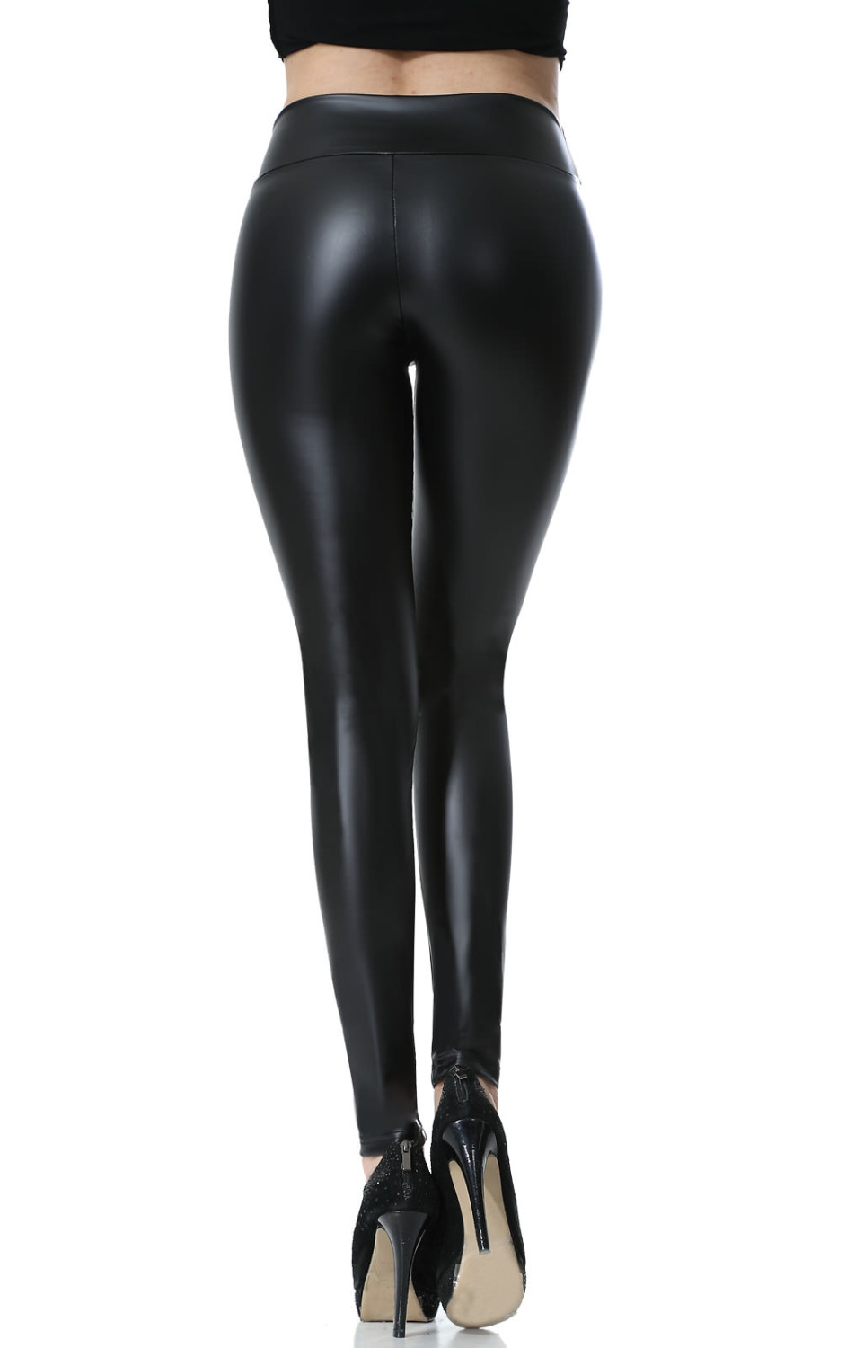 Everbellus Fitness Leather Leggings For Women Black Brillant Femme Fitness Mid Waisted Leather Leggings Sexy Push Up Slim Pants