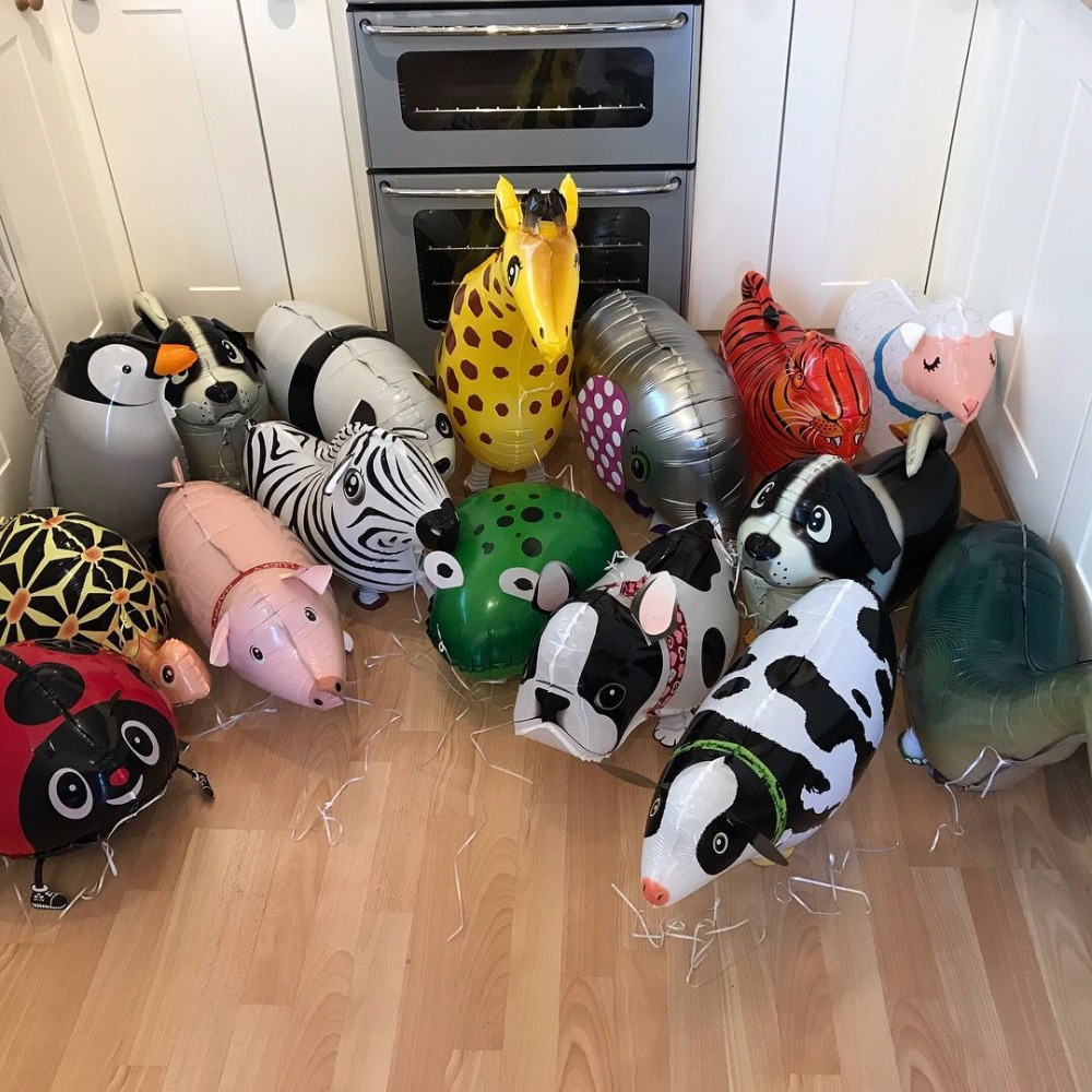Mixes Walking Animal HELIUM Balloons Cute Cat Dog Panda Dinosaur Tiger pet air Ballons birthday party decorations kids and adult rysunek kolorowy motyle