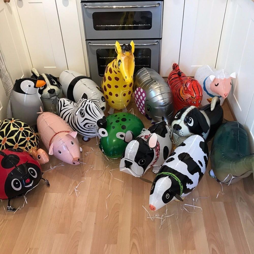 Mixes Walking Animal HELIUM Balloons Cute Cat Dog Panda Dinosaur Tiger pet air Ballons birthday party decorations kids and adult(China)