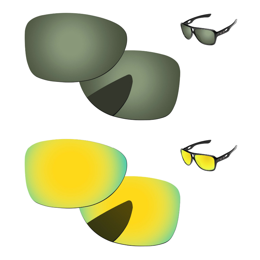 24K Golden & Green Black 2 Pairs Polarized Replacement Lenses For Dispatch 2 Sunglasses Frame 100% UVA & UVB Protection