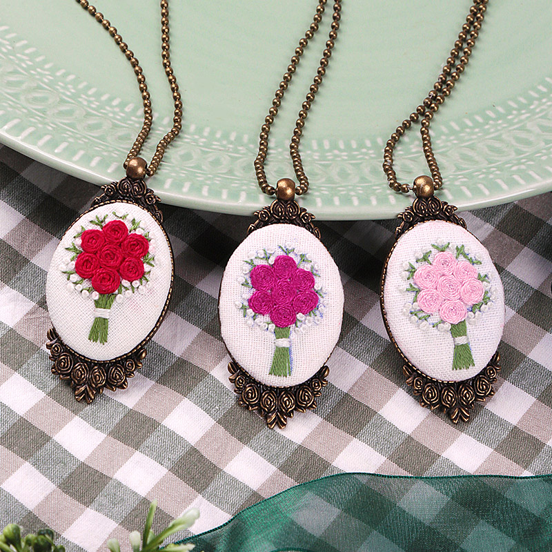 DIY Flower Embroidery Kits Of Necklace Handmade Needlework For Beginner Cross Stitch Set With Embroidery Hoop Gift Home Decor