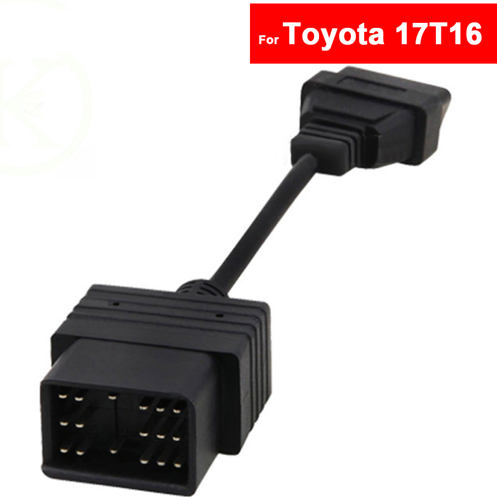 For <font><b>Toyota</b></font> Camry Prado Sienna Rav4 Corolla Vios Crown 17 <font><b>Pin</b></font> To 16 <font><b>Pin</b></font> OBD1 To OBD2 Car Fault Adapter Diagnostic Tool Cable image