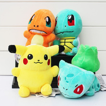 4Pcs Lot Anime Pikachu Squirtle Charmander Bulbasaur Plush Toys Stuffed Baby Dolls With Tag 6 15cm