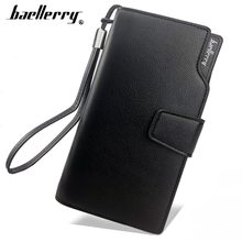 Baellerry Card holder Men Wallets PU Long Design Quality Passport Cover Fashion Casual Male Purse Zipper Quality Coin Purse(China)