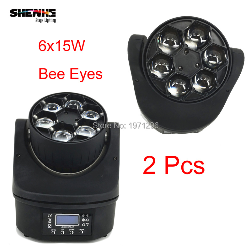 2 Pcs 6X15W Bee Eye Led Moving Head Light Ultimate Rotate Stage Beam Effect RGBW