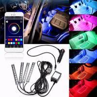 4x 9LED RGB Car Interior Decorative Floor Atmosphere Lamp Strip Light Smart Intelligent Wireless Phone APP