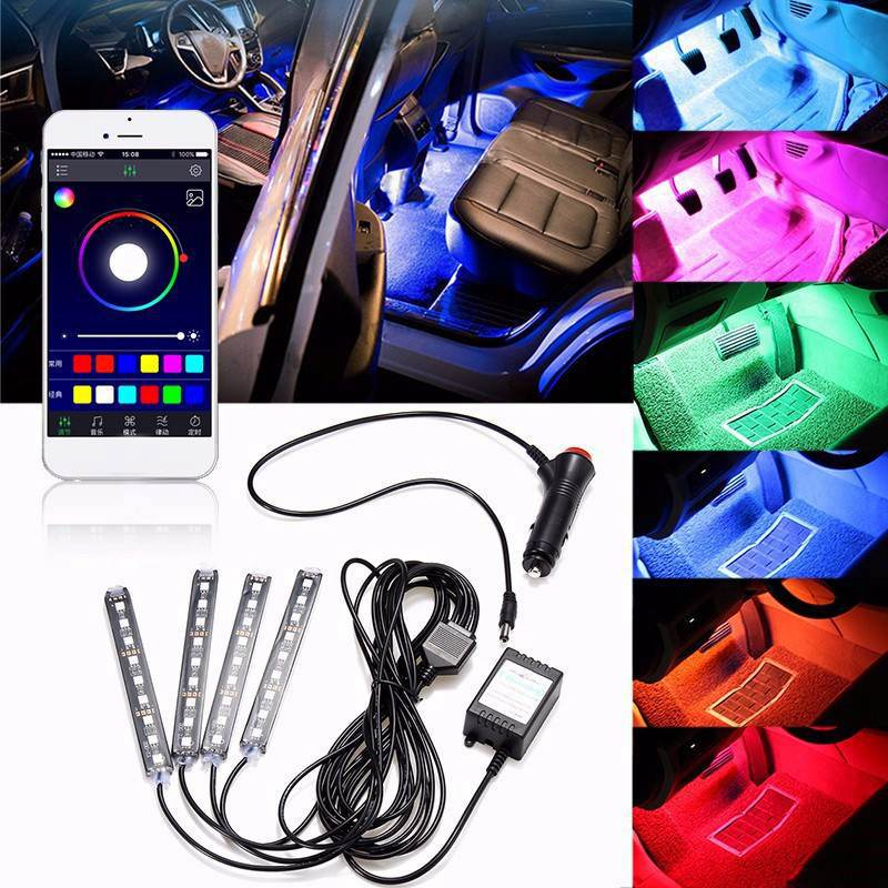 4pcs Car RGB LED Strip Light 16 Colors Car Styling Decorative Atmosphere Lamps Smart Wireless Phone APP Control Voice Control