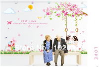 Romatic Pink First Love Sakura Flower Kissing On The Swing Wall Stickers Cherry Blossom Wall Decal