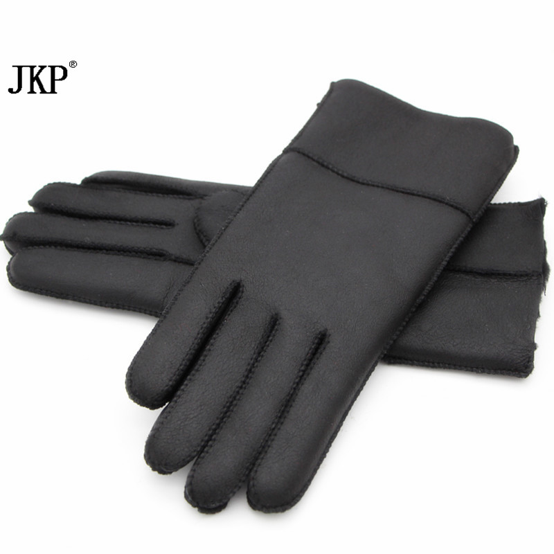 2018Womens Gloves Real Leather Sheepskin Winter Gloves Hot Warm Stylish Full Finger Ladies Gloves Mittens Genuine Leather ...