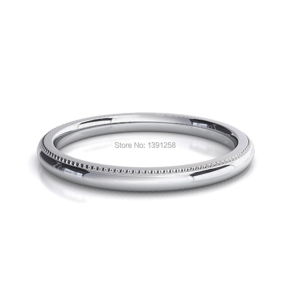 2mm Milgrain Wedding Rings For Women Comfort Fit Palladium Pd500