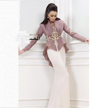 New Design Saudi Arabia Dresses White Mermaid Evening Dress Embroidery Long Sleeve Organza Jacket
