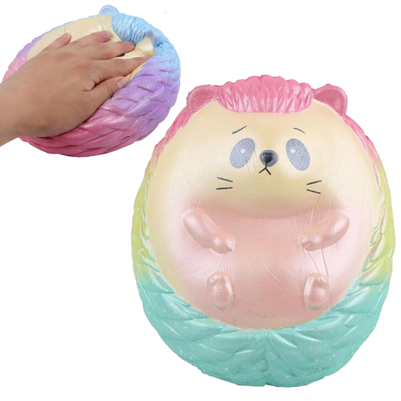 19cm Giant Squishy Colorful Hedgehog Soft Toy Rainbow Glitter Cartoon Hedgepig Slow The Growth Decompression Toys Animals