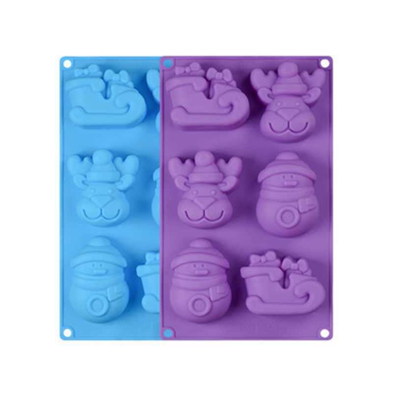 Bakeware Silicone Mold 6Elk Snowman Christmas Cake Soap Mold Resistant High Temperature Easy Demoulding High Quality Baking Tool