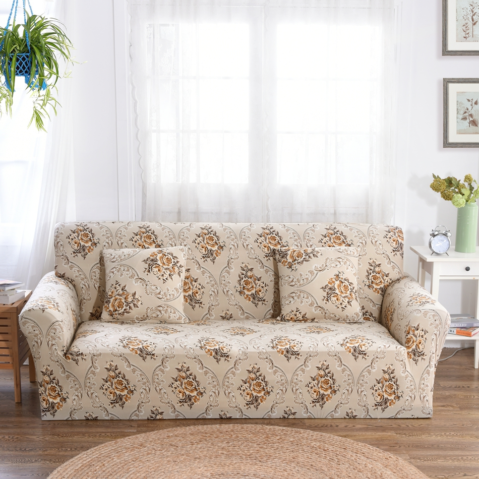 Eurpoe Style Flowers Sofa Covers For Living Room Multi-size Couch Sofa Slipcovers Polyester Anti-slip Removable Sofa Slipcovers