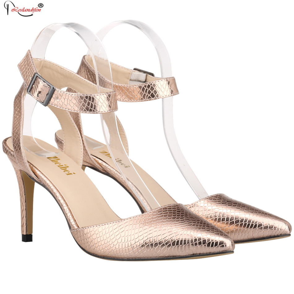 New Gold Sliver Summer Ankle Strap High Heel Sandals Big Size Ladies Pointed Toe Sandal Wedding Prom Party Dress Shoes SMYBK-055 summer hot sale women fashion open toe bling bling gold sliver strap high heel sandals ankle wrap gladiator sandals dress shoes