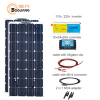 Boguang 100w solar panel cell module 200w DIY kit solar system 110v 220v 500w inverter 12v/24v/20A controller MC4 cable adapter