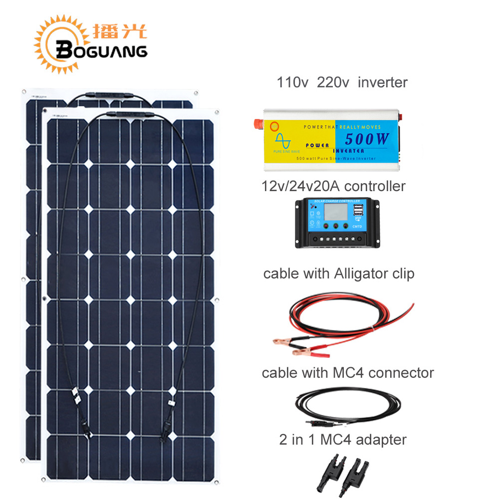 Boguang 100w solar panel cell module 200w DIY kit solar system 110v 220v 500w inverter 12v/24v/20A controller MC4 cable adapter boguang 6x100w solar system kits 600w flexible solar panel controller inverter cable adaptor for12v 24v rv marine camping home
