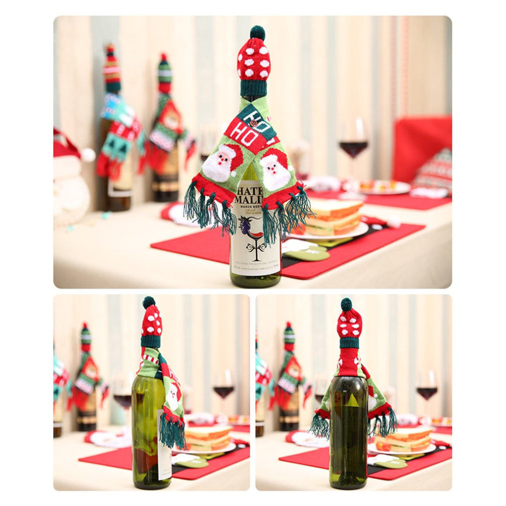 3 Patterns Knitted Tassel Scarf Hat Cap Christmas Red Wine Bottle ...