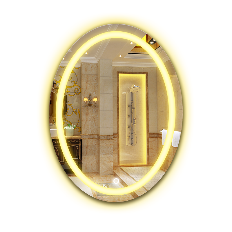 Oval bathroom LED lamp mirror wall hanging bathroom with light makeup mirror modern Touch switch bath mirror mx12151130 4