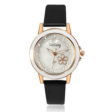 2016 New Hot sell Quartz Watch Women Gogoey Brand Luxury Leather Watches Rhinestone designer Ladies flower Watch reloj mujer