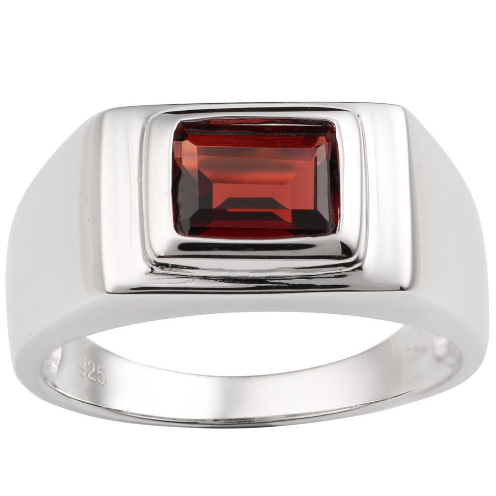 925 Silver Ring for Men Red Garnet 7x9mm Gemstone Invisible Prong Setting January Capricorn Birthstone Father