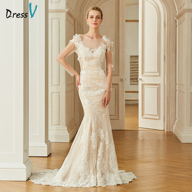Dressv appliques elegant scoop neck wedding dress long sleeves floor length  button bridal outdoor church trumpet wedding 415a476c2a40
