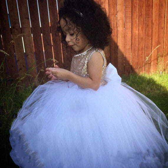 Champagne Sequins Sweetheart back flower girl dress sparkly beading wedding party glitz puffy prom gowns with bow