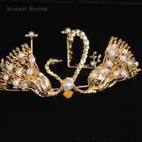 Romantic Gold Wedding Tiaras 2018 New with Pearls Swan Head Crown Bridal Hair Jewelry Wedding Accessories Pageant Prom Headpiece