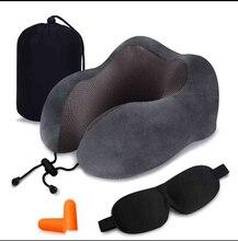 U-shape Sleeping Pillow Memory Foam Travel Neck Car Flight Headrest Pad pillow nap cervical neck Set