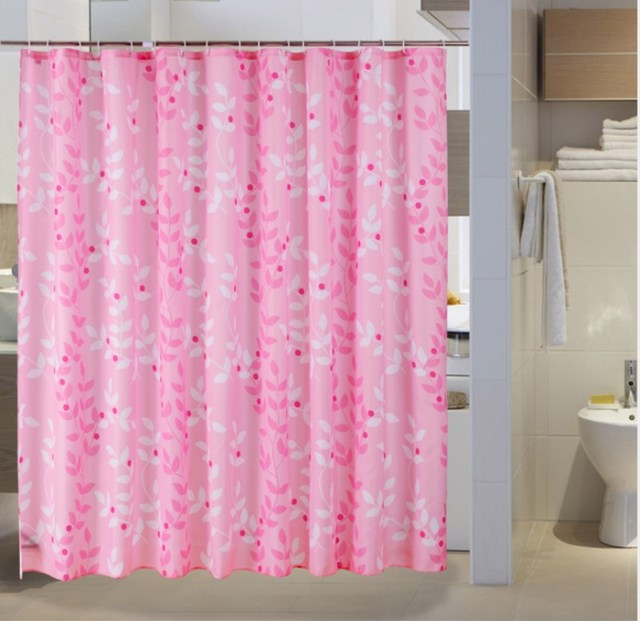 Pink Shower Curtain Printed Leaf Pattern Waterproof Polyester Various Sizes