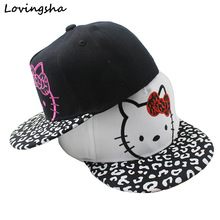 LOVINGSHA Boy Baseball Caps 3-8 Years Old Kid Cute Cat Design Snapback Caps High Qaulity Adjustable Cap For Girl CC082