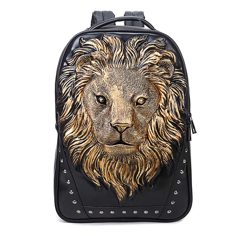 Lion Image Men Backpack PU Leather Backpack Big Capacity Computer Laptop Backpack Men bags Travel Bag for Teenagers Waterproof travel bag 3d print lion rivets back pack teenagers large capacity high quality pu schoolbag laptop backpack casual rucksack