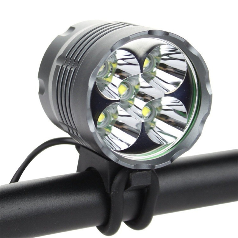 Securitylng 6000 Lumen High Power XM-L 5x T6 LED Front Bicycle Light Bike Lamp+charger+8.4v Battery Pack+headlamp+2*o-rings