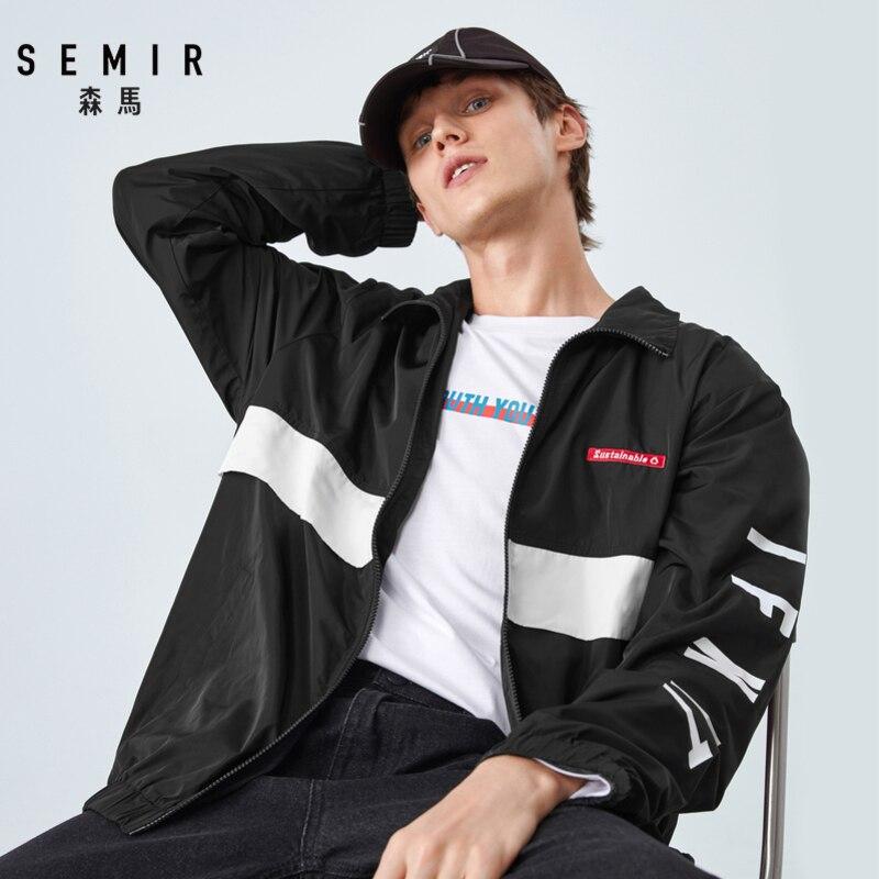 SEMIR Jacket Men Spring And Autumn 2019 New Contrast Color Stitching Fashion Jacket Loose Jacket Lapel Retro Man