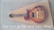 Electric guitar Hot Sale Les LP Map panel transparent brown Paul Custom Electric Guitar 6 Strings Guitars