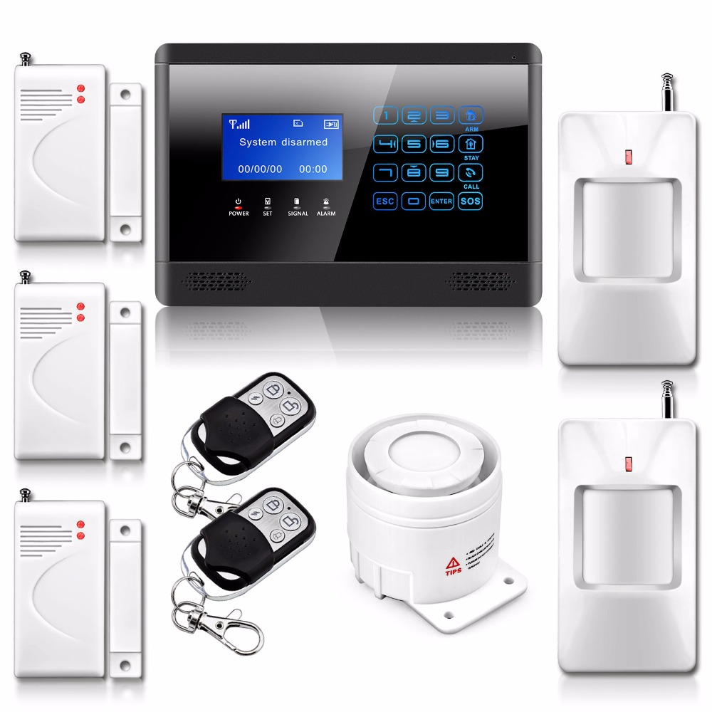 Wireless& Wired GSM SMS Home House Security Inturder Alarm System Arm/Disarm with Door Sensor/ PIR/Remote control